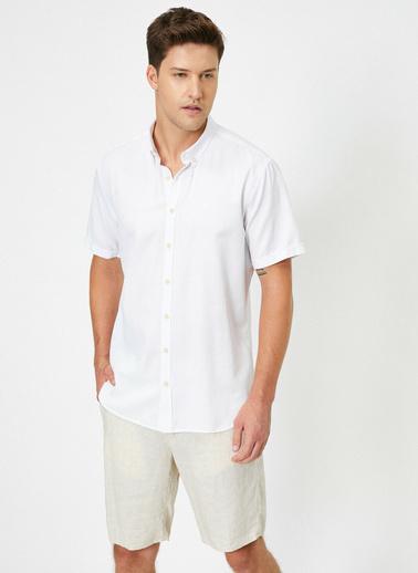 Koton Yakasi Dügmeli Slim Fit Kisa Kollu Gömlek Beyaz